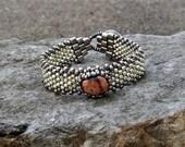 Free Form Peyote Stitch Beaded Bracelet - Bead Weaving -  Lake Superior Thomsonite Cabochon - Silver Galvanized  BOHO