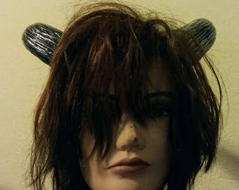 Silver Black  Bull Devil Roller Derby Beast Goddess Horns