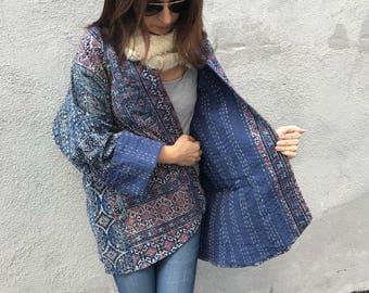 Plus size Indigo cotton quilt reversible kimono style jacket