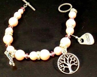 Pink Breast Cancer, Survivor, Pink Jewelry, Pink Swarovski Crystal Bracelet