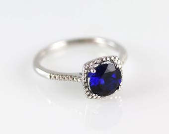 Blue Sapphire and Diamond Ring - Sterling Silver - Blue Sapphire Ring - Size 6