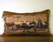 Western Pillow Cowboy Cattle Drive Tapestry Fringed Lumbar Pillow Passion Suede