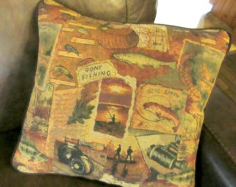 Large Tapestry Pillow Fish Fishing Fishermen Cabin Lodge Decor Woodlands
