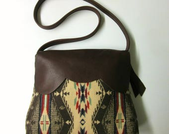 Shoulder Bag Purse Buttery Soft Brown Leather Spirit of the People Blanket Wool from Pendleton Oregon