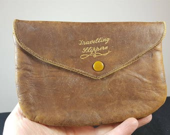 Vintage Traveling Slippers Brown Leather Pouch Purse Bag 1930's