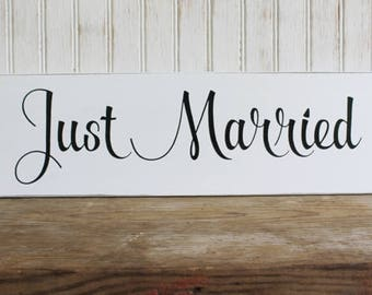 Wedding Sign Just Married Wood Bride and Groom Photo Prop Table Decoration Wedding Decor