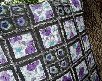 "Handmade Rag Quilt ~Purple Gray~ ""GRACE"""