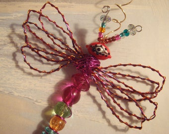 "My #9108 Evil-Eyed Red Alien Fluttering Dragonfly!..Unique! Ornament! home decor! Size 3.5""Wx4""L"
