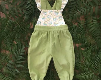 Vintage Style Green and Cream Floral Overalls with designer cord and Tilda floralbib, cotton kids clothing, overalls, play clothes