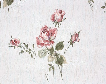 1960s Vintage Wallpaper by the Yard - Retro Floral Wallpaper with Pink Long Stem Rose on White