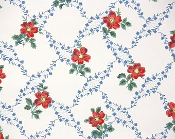 1930s Vintage Wallpaper by the Yard - Floral Wallpaper with Blue and Red Flowers
