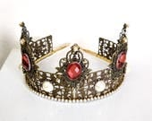 Renaissance Tiara, Crown, Medieval, Renaissance Jewelry, Tudor, Headpiece, Headdress, Renaissance Crown, Ant Brass & Burgundy, Ready 2 Ship