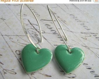 SALE 40% OFF Seafoam Heart Earrings, Mint Green Dangle Heart Earrings, Enamel Heart Earrings, Sterling Silver Enamel Heart Earrings, Bridesm