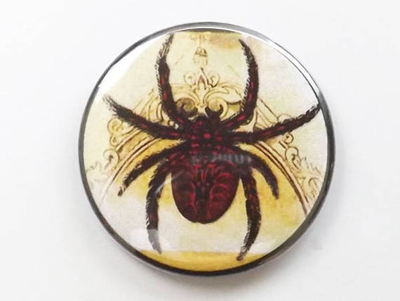 Button Pin Badge Spider halloween gift spooky scary arachnid pinback goth geekery trick or treat bag fridge magnet