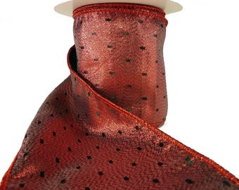 """3 Rolls of Shiny Red Lame With Black Dots Wired Ribbon  4"""" Wide"""