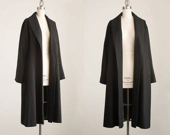90s Vintage Black Wool Full Length Shawl Collar Over Coat / Size Medium