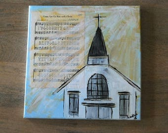 Come Let Us Rise WIth Christ - Rustic Hymnal Church Painting  - 12 x 12