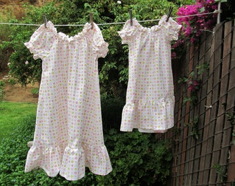 Ready now!  Toddler Organic Cotton Flannel nightgown XOXO Pink White