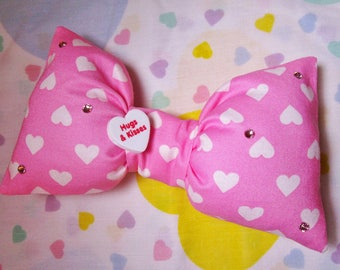 Valentine's Day bow, Barbie hairbow pink white heart sweet lolita hair clip gifts under 20