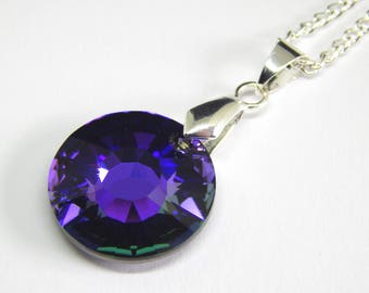 Purple Swarovski Sun Necklace - Heliotrope Crystal - Purple Sun Pendant - Swarovski Elements - Crystal Sun Pendant - Purple Crystal Necklace