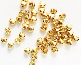 100 gold alloy spacer beads, gold heart spacer beads 3x3mm