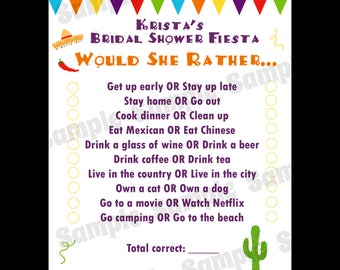 24 Would She Rather Game Cards -  Personalized Bridal Shower Game Cards - Fiesta Bridal Shower