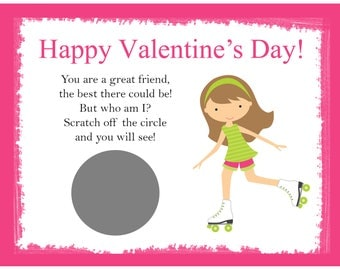 Personalized Scratch Off Valentine's Day Cards for Kids - Roller Skate Pink