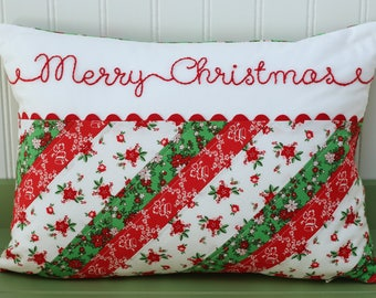 Christmas Pillow, Custom Pillow Cover, Personalized Pillow Cover, Decorative Pillow, Hand Embroidered Pillow, Striped, Merry Christmas