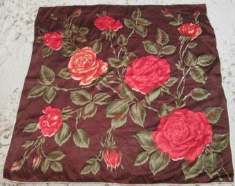 2 LOT Vintage Silk Scarves One Roses on Brown Background and One Rose Bud on White