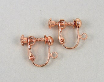 4 Pcs Rose Gold Clip on Earring Findings Rose Gold Plated Screw Back with Loop |CO2-15|4