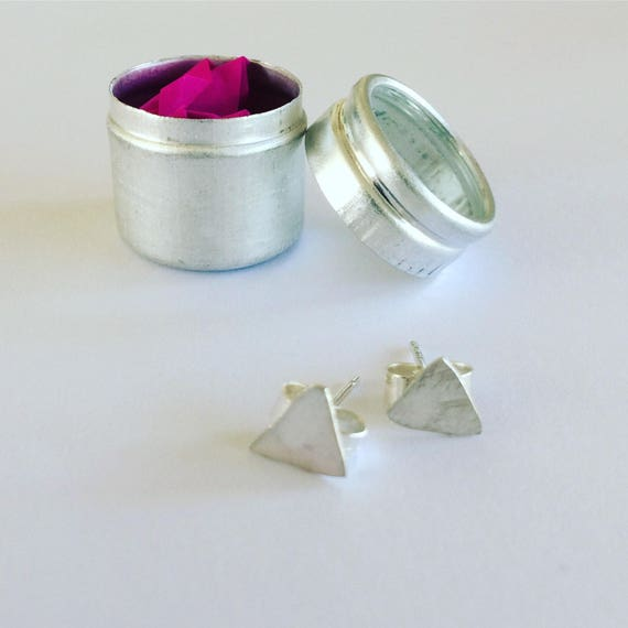 Tiny Irregular Triangle Studs - Sterling Silver - Modern - Simple - Hammered - Stylish - Contemporary - Geometric