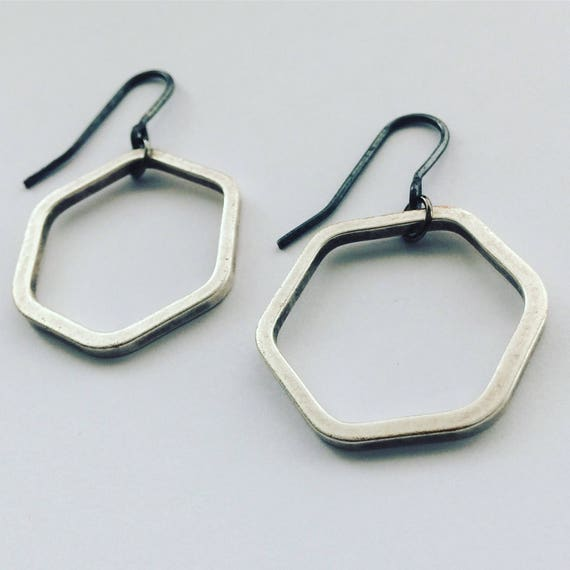 Industrial Silver Tone Brass Hexagon Earrings - Modern - Geometric - Simple -