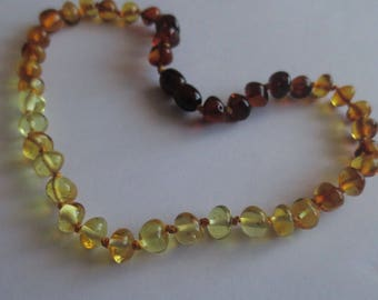 CHAMPAGNE & CAVIAR Baltic Amber Round Nugget Baby Teething Necklace Ready to Ship!
