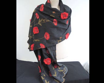 NEW Poppies large 3D Opera wrap- appliqued taffeta shawl or scarf in black with 3D red flowers- unlined summer coverup ready to ship