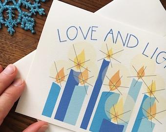 Hannukah Card Set. Hanukkah Menorah. Unique Holiday Card. Set of 10. Jewish Holiday Card. Seasonal Lights. Candle Card. Love and light card.