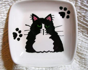 Black & White Tuxedo Cat On Square Ceramic Dish / Bowl Handmade by Grace M. Smith