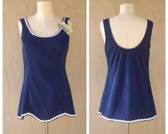 30% MOVING SALE 70s swimsuit / navy blue nautical tankini TOP Only / modesty skirt / new old stock Tags / womens medium, 38 bust