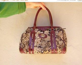 30% MOVING SALE Vintage tapestry bag / 70s 80s floral brocade bag / burgundy leather carpet tote handbag