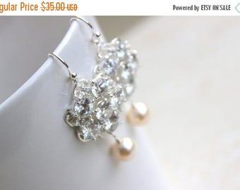 Summer Sale Bridal Earrings Swarovski Pearl CZ Sterling Silver Chandelier AE1