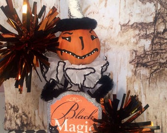 Halloween tree topper pumpkin doll pumpkin tree topper vintage retro inspired black and orange party decor