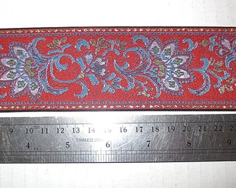 Metallic gold red blue lilac paisley flower jacquard brocade woven trim beautiful for many projects easy to sew with 2.25 in wide by 2 yards