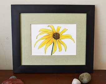 Original Painting Black Eyed Susan Flower 5x7 Gouache Painting on Paper - Floral Art, Yellow Flower, Brown Eyed Susan, Rudbeckia hirta