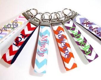 Personalized Wristlet Key Chain,  Chevron Key Chain, Monogram Key Chain,Teacher Appreciation, Birthday Gift, Christms Gift, Group Gift