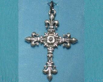 Large Ornate French Art Nouveau Victorian Fleur De Lis Cross Sterling Silver Pendant