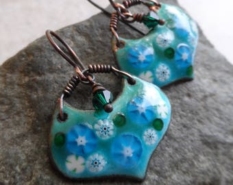 RESERVED Morning Glories ... Artisan-Made Enameled Copper, Swarovski Crystal and Copper Boho, Floral, Garden, Woodland Earrings