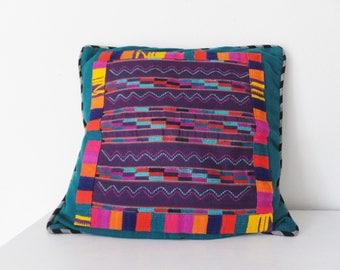 Bright Colorful Guatemalan Pillow Decorative Pillow Cover Square Pillow  Cover Teal Pillow Southwest Decor Colorful Ethnic