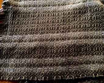 Handwoven placemats in dark brown with tan stripes, set pf 4