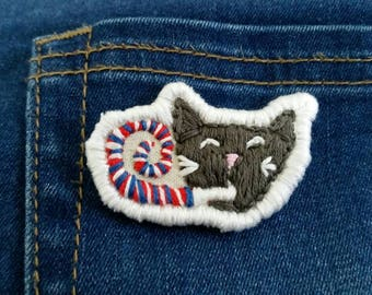 Party Cat sew-on patch - hand embroidery on vegan felt
