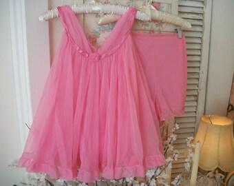 candy pink vintage true baby doll nightie, top and pantie, super sheer chiffon nylon, satin ribbon, vintage 1960s babydoll set