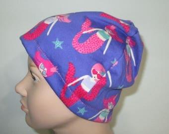 Kids Mermaid Print  Children Size  Hat -Chemo, Cancer, Alopecia,Sleep Cap